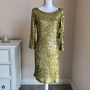 Marc New York Andrew Marc Gold Sequin Dress Medium